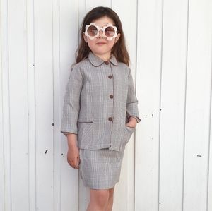 Vintage 1960s Prince of Wales Check Suit Matching Jacket & Skirt Approx. 5 YEARS